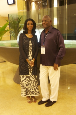 Togbui Kporku with Zeinab Badawi of BBC